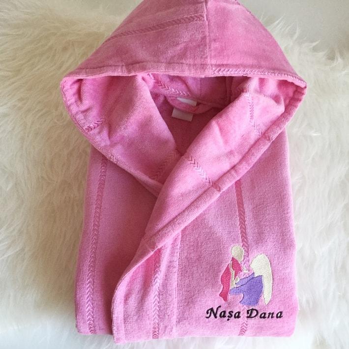 halat de baie roz