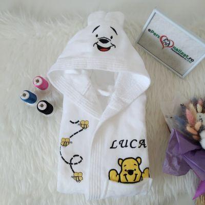 Halat alb personalizat pentru bebelusi