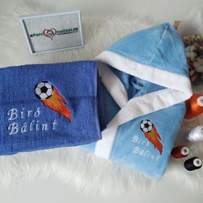 Set halat de baie si prosop personalizate pentru Balint