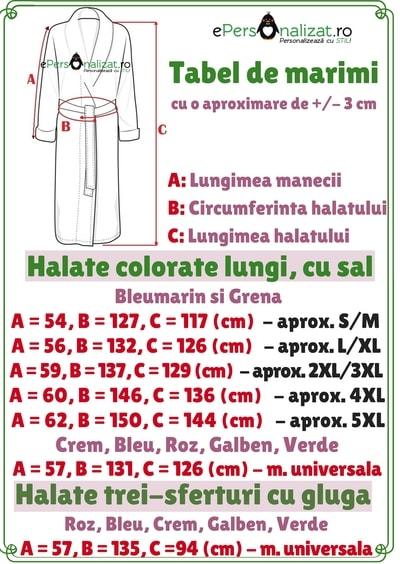 Ghid masuri halate de baie colorate lungi si trei sferturi cu gluga